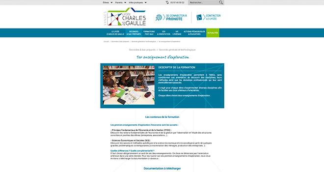 Site internet du Lycée Charles de Gaulle