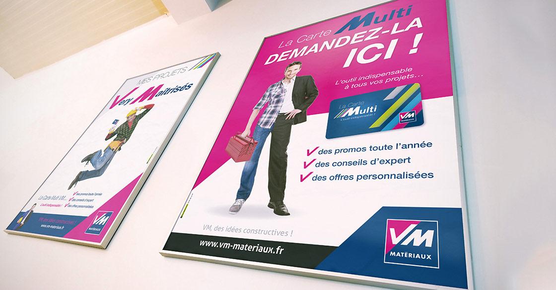 Affiches publicitaires pour VM Matériaux