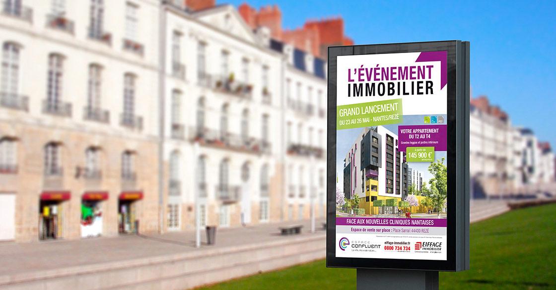 Affichage à Nantes pour Espace Confluent