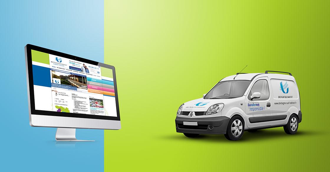 Site internet et habillage véhicule pour Bretagne Sud Habitat
